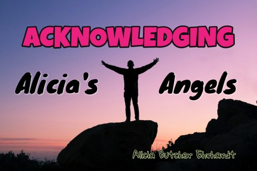 A man standing on a rock in sihouette in front of a sunset, with the words: Acknowledging Alicia's Angels, by Alicia Butcher Ehrhardtt