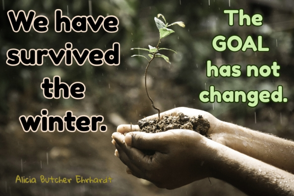 Hands holding a clump of soil with a baby plant. Text: We have survived the winter. The goal has not changed. Alicia Butcher Ehrhardt